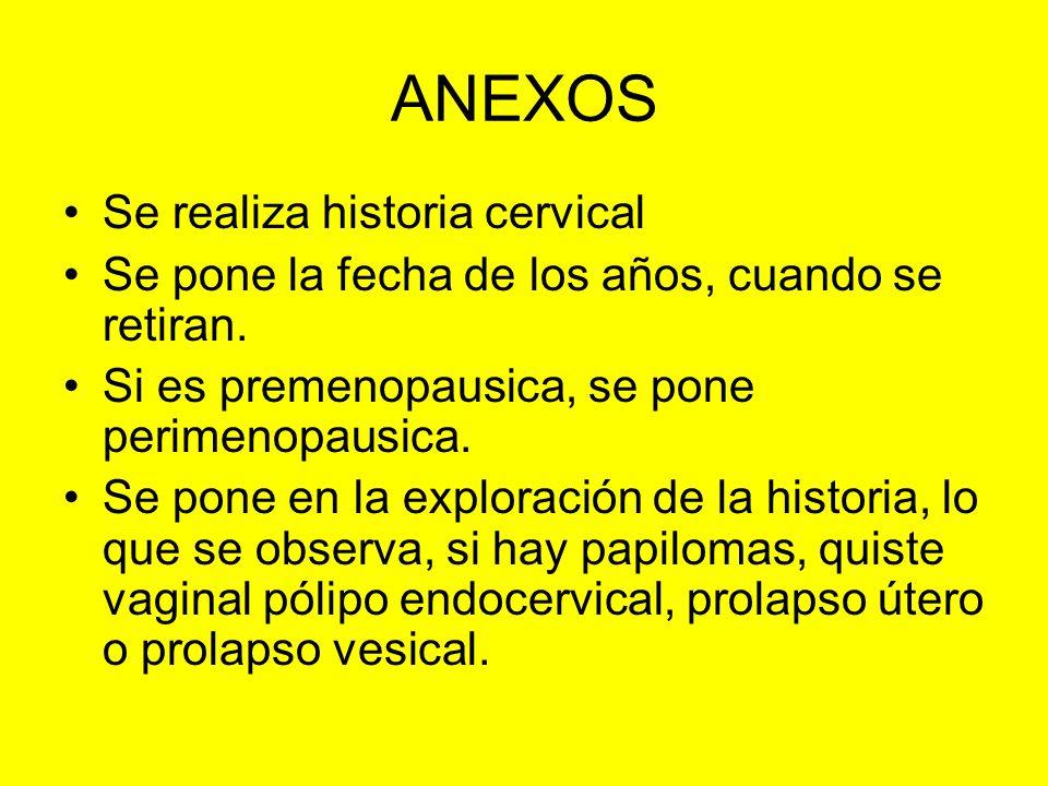 ANEXOS Se realiza historia cervical Se pone la fecha de los años, cuando se retiran. Si es premenopausica, se pone perimenopausica. Se pone en la expl