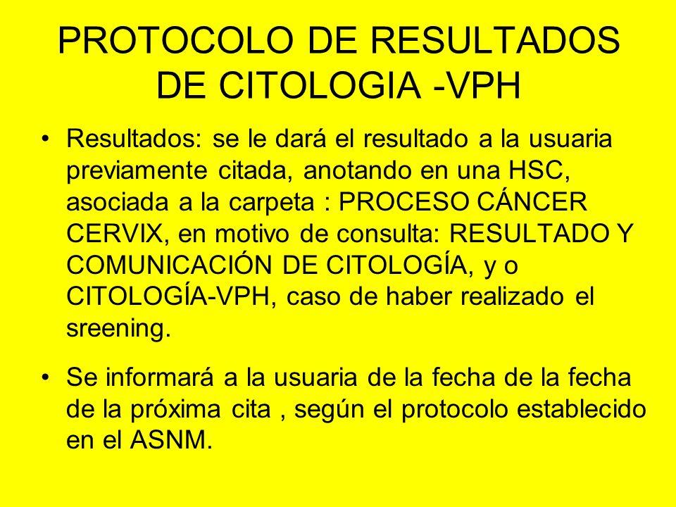 PROTOCOLO DE RESULTADOS DE CITOLOGIA -VPH Resultados: se le dará el resultado a la usuaria previamente citada, anotando en una HSC, asociada a la carp