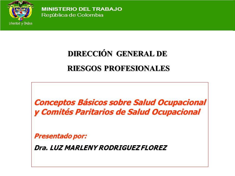 DIRECCIÓN GENERAL DE RIESGOS PROFESIONALES RIESGOS PROFESIONALES DIRECCIÓN GENERAL DE RIESGOS PROFESIONALES RIESGOS PROFESIONALES Conceptos Básicos sobre Salud Ocupacional y Comités Paritarios de Salud Ocupacional Presentado por: Dra.