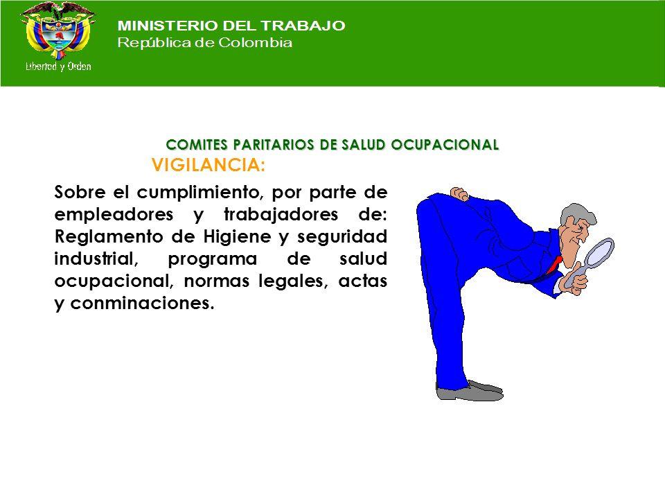 COMITES PARITARIOS DE SALUD OCUPACIONAL INSPECCION: A las instalaciones locativas, m á quinas, equipos, herramientas, elementos de emergencia, brigada