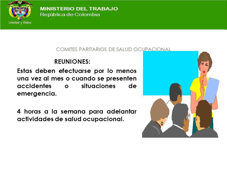 COMITES PARITARIOS DE SALUD OCUPACIONAL VIGILANCIA: Sobre el cumplimiento, por parte de empleadores y trabajadores de: Reglamento de Higiene y segurid