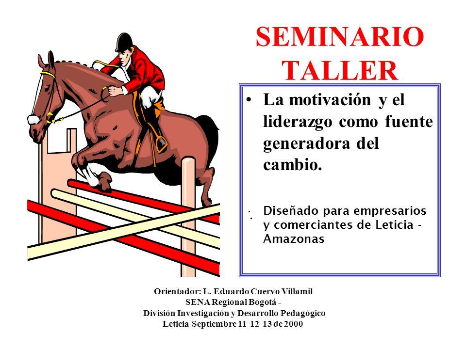 SEMINARIO TALLER La motivación y el liderazgo como fuente generadora del cambio. Diseñado para empresarios y comerciantes de Leticia - Amazonas. Orien