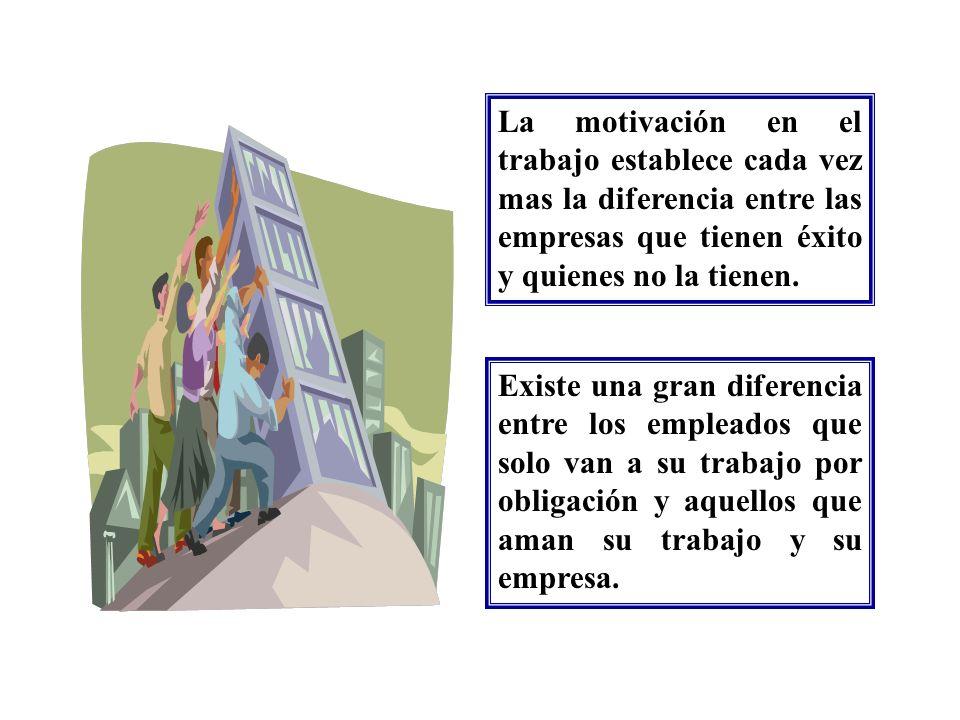La motivación en el trabajo establece cada vez mas la diferencia entre las empresas que tienen éxito y quienes no la tienen. Existe una gran diferenci