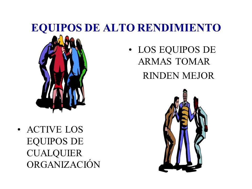 EQUIPOS DE ALTO RENDIMIENTO ACTIVE LOS EQUIPOS DE CUALQUIER ORGANIZACIÓN LOS EQUIPOS DE ARMAS TOMAR RINDEN MEJOR