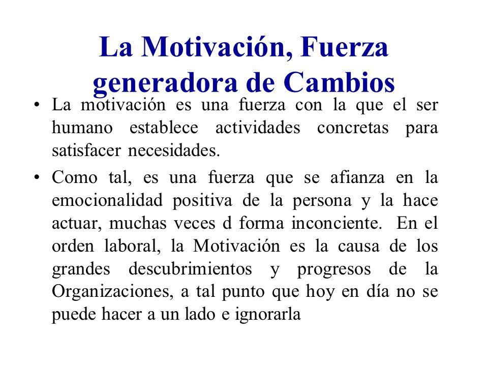 La Motivación, Fuerza generadora de Cambios La motivación es una fuerza con la que el ser humano establece actividades concretas para satisfacer neces