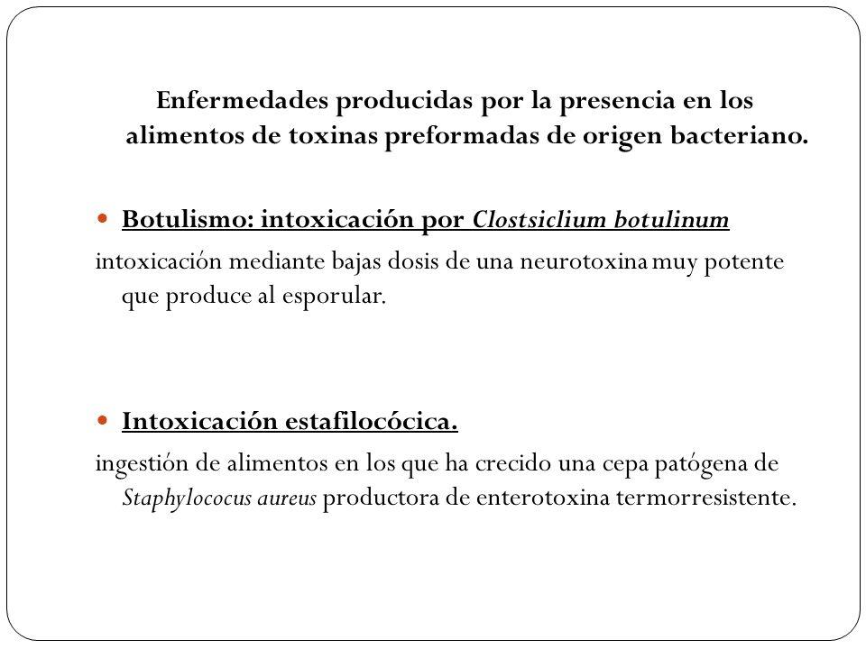 Enfermedades producidas por la presencia en los alimentos de toxinas preformadas de origen bacteriano. Botulismo: intoxicación por Clostsiclium botuli