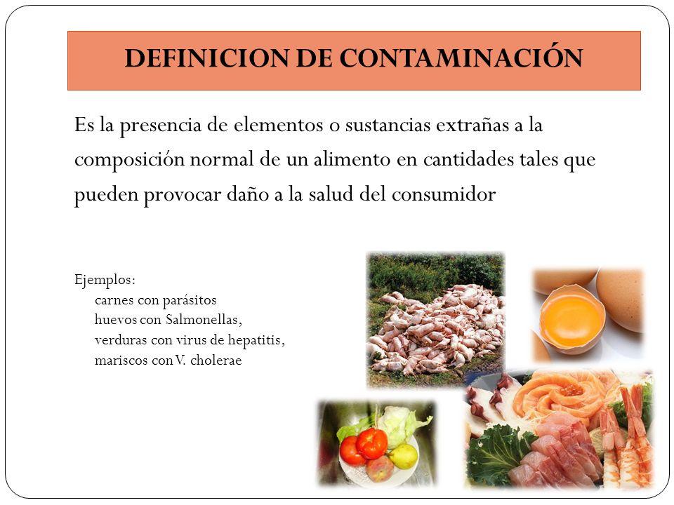 DEFINICION DE CONTAMINACIÓN Es la presencia de elementos o sustancias extrañas a la composición normal de un alimento en cantidades tales que pueden p