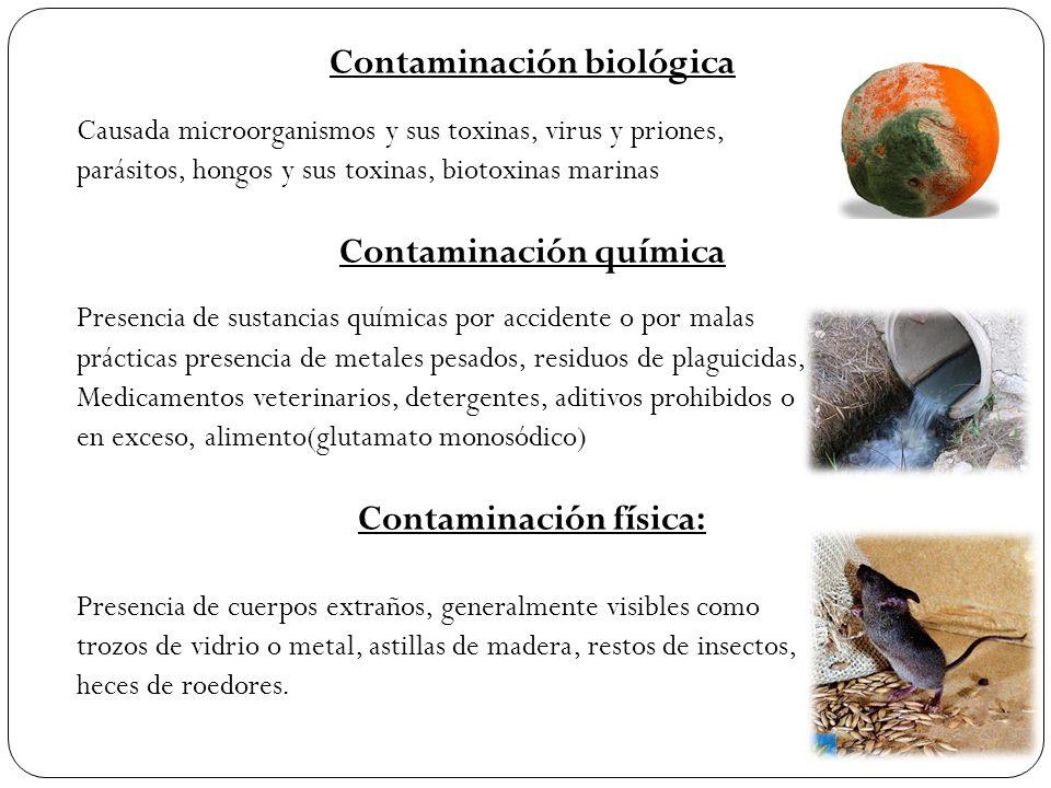 Contaminación biológica Causada microorganismos y sus toxinas, virus y priones, parásitos, hongos y sus toxinas, biotoxinas marinas Contaminación quím