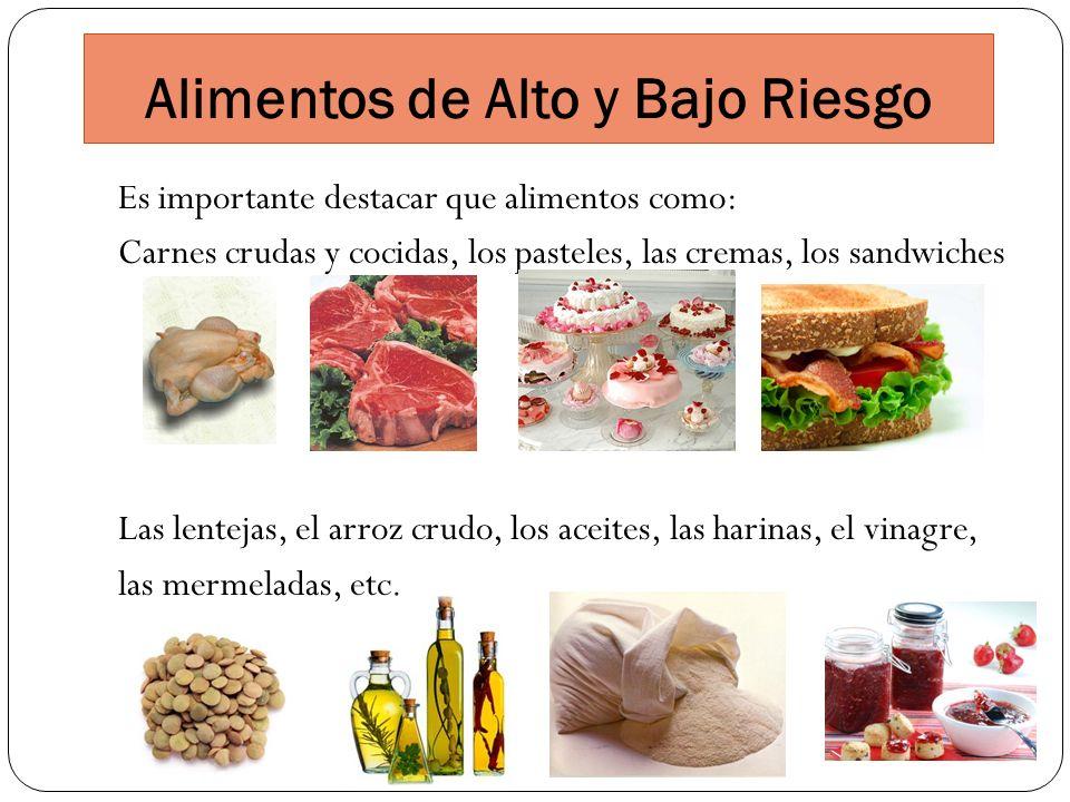 Alimentos de Alto y Bajo Riesgo Es importante destacar que alimentos como: Carnes crudas y cocidas, los pasteles, las cremas, los sandwiches Las lente
