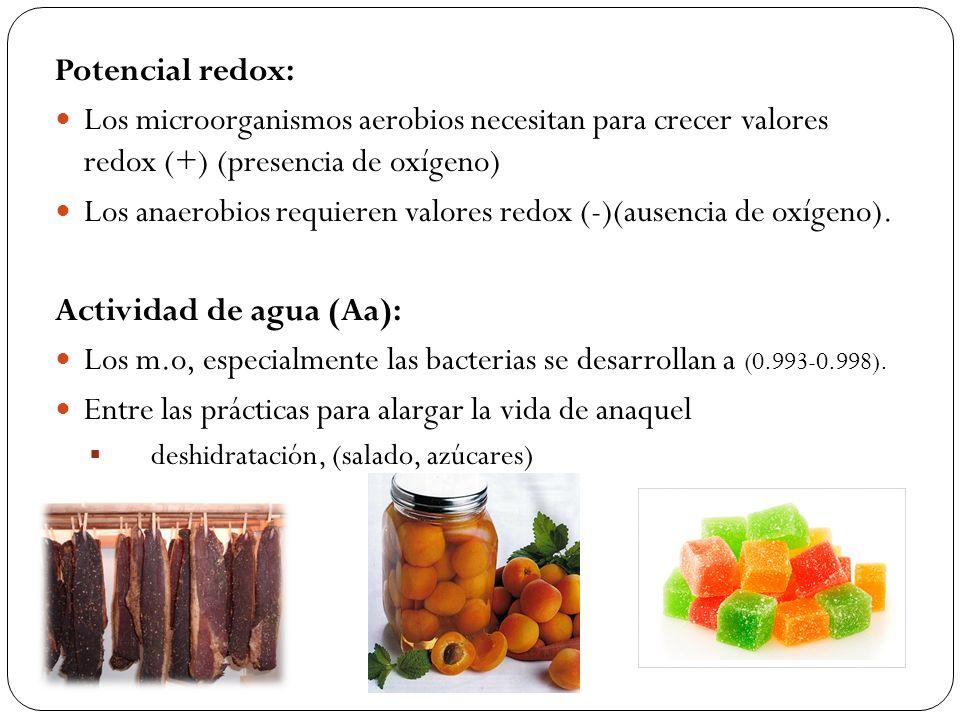 Potencial redox: Los microorganismos aerobios necesitan para crecer valores redox (+) (presencia de oxígeno) Los anaerobios requieren valores redox (-