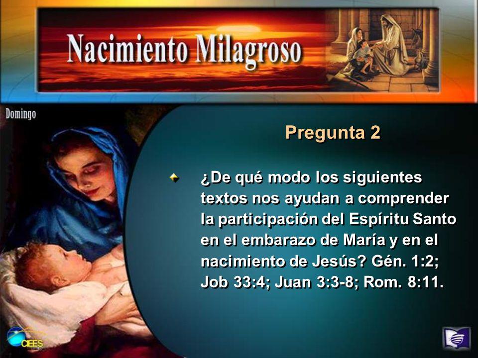 ¿De qué modo los siguientes textos nos ayudan a comprender la participación del Espíritu Santo en el embarazo de María y en el nacimiento de Jesús? Gé