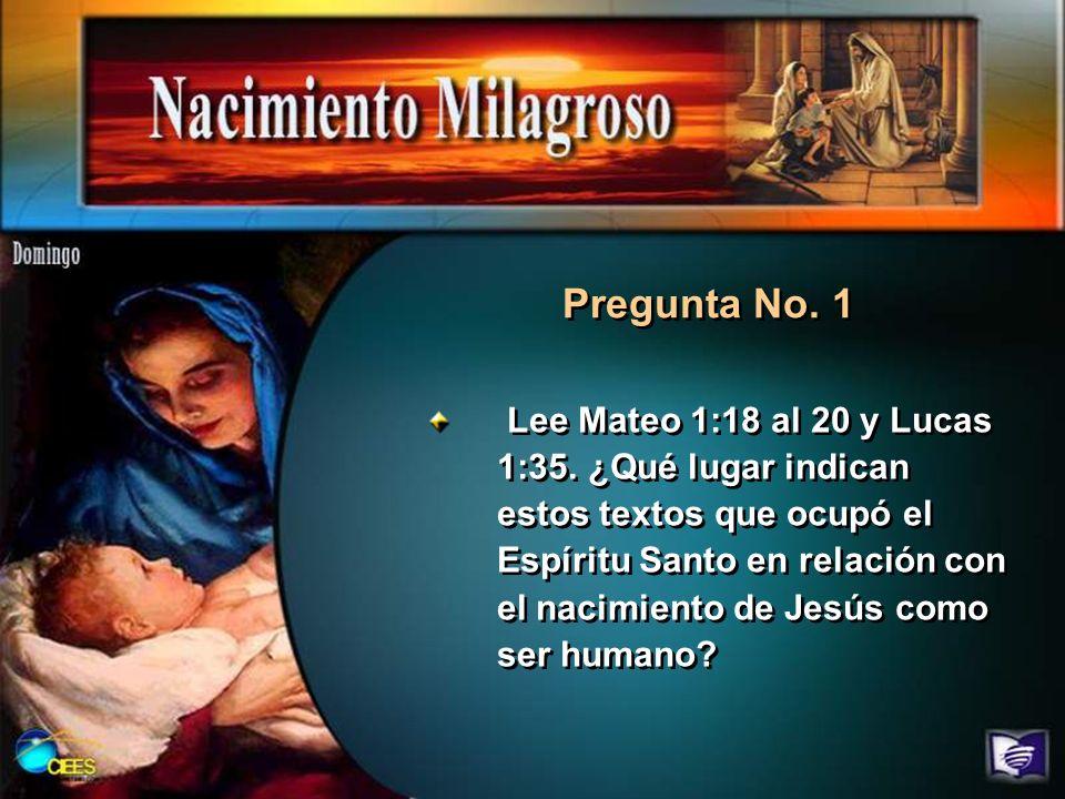 Lee Mateo 1:18 al 20 y Lucas 1:35. ¿Qué lugar indican estos textos que ocupó el Espíritu Santo en relación con el nacimiento de Jesús como ser humano?