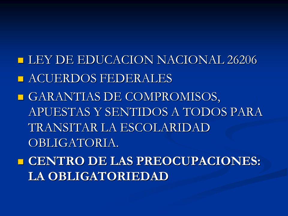LEY DE EDUCACION NACIONAL 26206 LEY DE EDUCACION NACIONAL 26206 ACUERDOS FEDERALES ACUERDOS FEDERALES GARANTIAS DE COMPROMISOS, APUESTAS Y SENTIDOS A