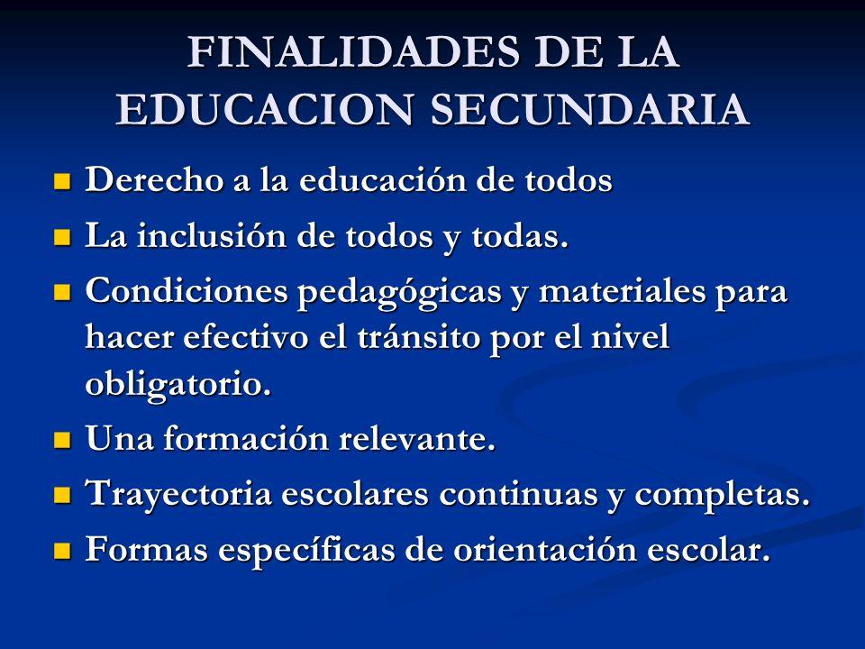 FINALIDADES DE LA EDUCACION SECUNDARIA Derecho a la educación de todos Derecho a la educación de todos La inclusión de todos y todas. La inclusión de