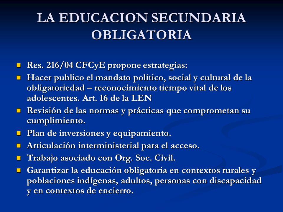 LA EDUCACION SECUNDARIA OBLIGATORIA Res. 216/04 CFCyE propone estrategias: Res. 216/04 CFCyE propone estrategias: Hacer publico el mandato político, s