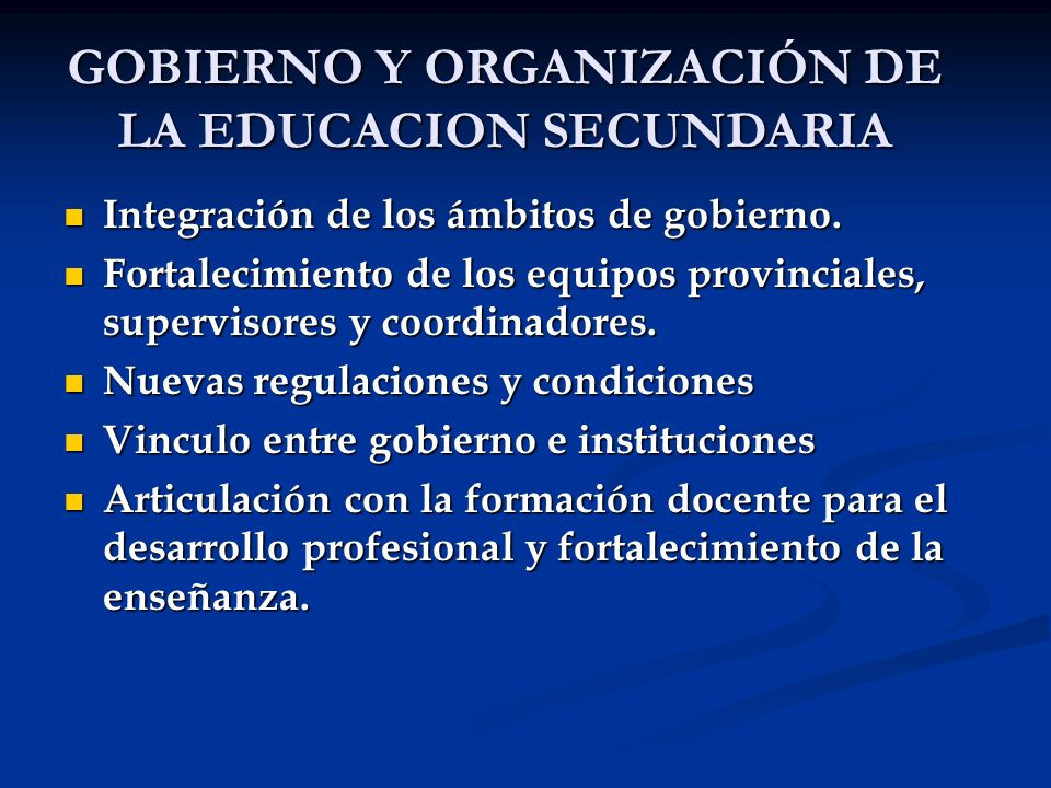 Integración de los ámbitos de gobierno. Integración de los ámbitos de gobierno. Fortalecimiento de los equipos provinciales, supervisores y coordinado