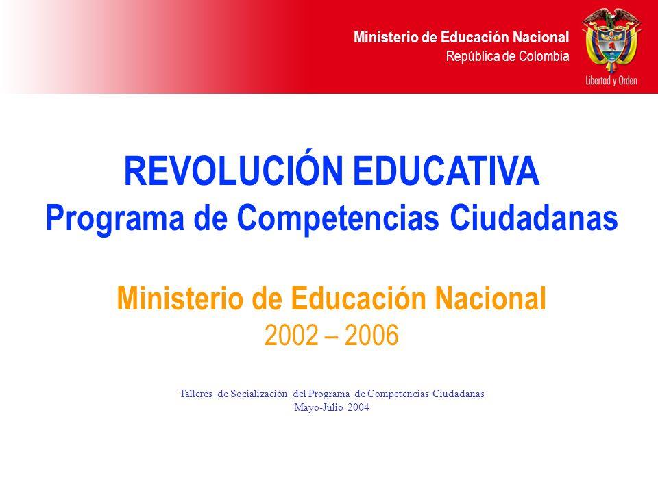 Ministerio de Educación Nacional República de Colombia Organización de los Estándares de Competencias Ciudadanas El encabezado en cada franja es el estándar de competencia ciudadana.