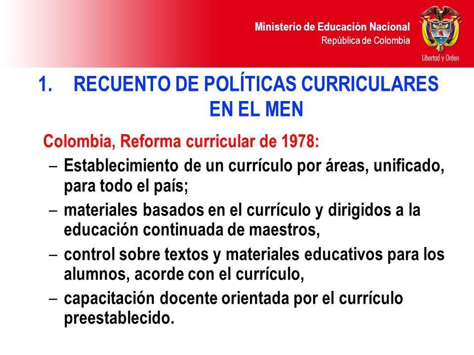 Ministerio de Educación Nacional República de Colombia Ley 115 de 1994Autonomía curricular: – Proyectos Educativos Institucionales PEI (artículo 73) Lineamientos (orientaciones) curriculares por área.