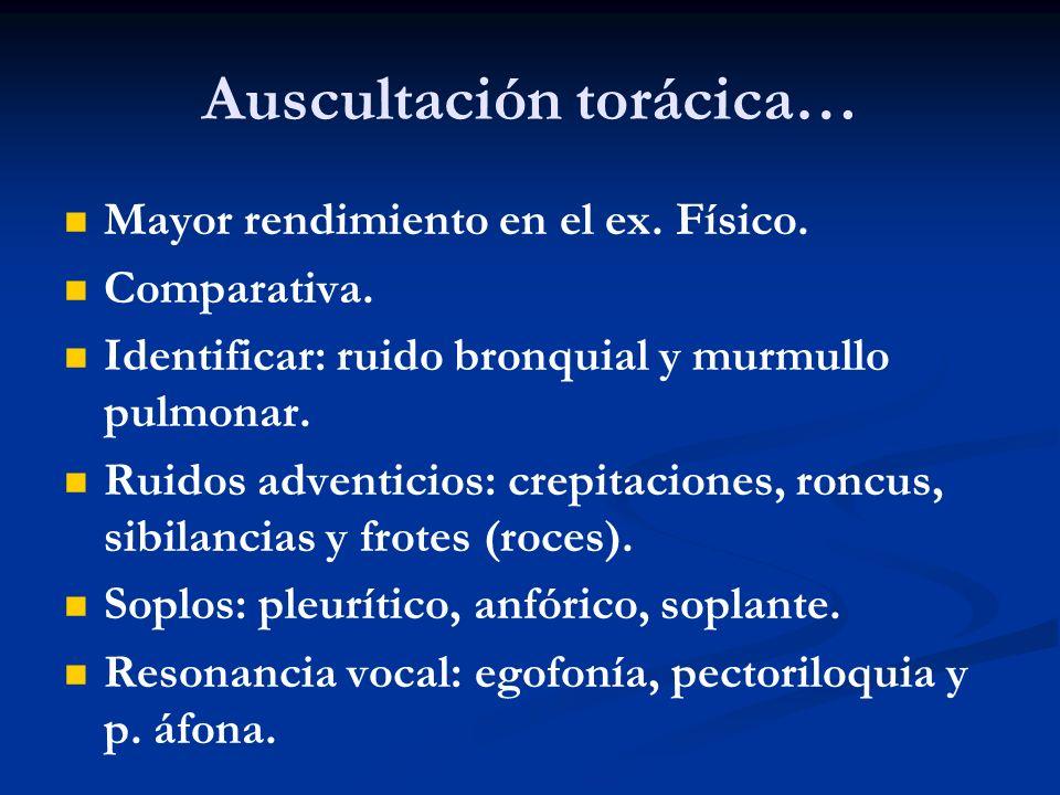 Auscultación torácica… Mayor rendimiento en el ex. Físico. Comparativa. Identificar: ruido bronquial y murmullo pulmonar. Ruidos adventicios: crepitac