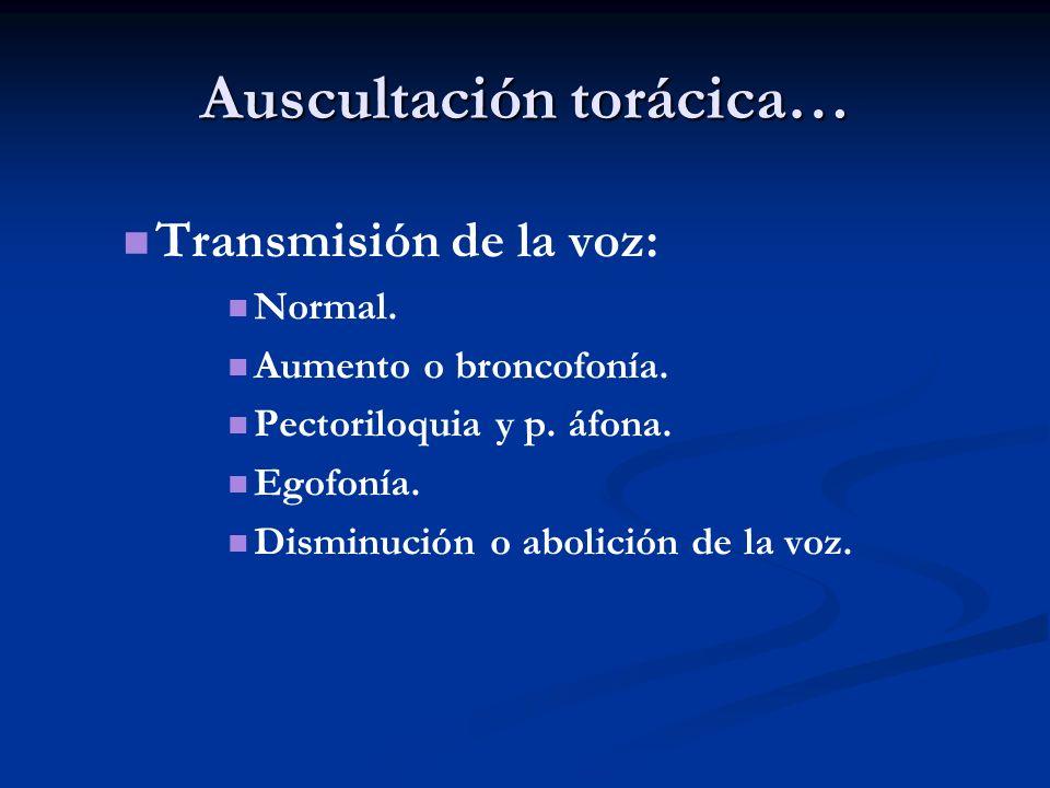 Auscultación torácica… Transmisión de la voz: Normal. Aumento o broncofonía. Pectoriloquia y p. áfona. Egofonía. Disminución o abolición de la voz.