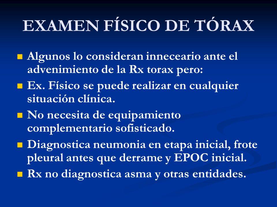 EXAMEN FÍSICO DE TÓRAX Algunos lo consideran inneceario ante el advenimiento de la Rx torax pero: Ex. Físico se puede realizar en cualquier situación