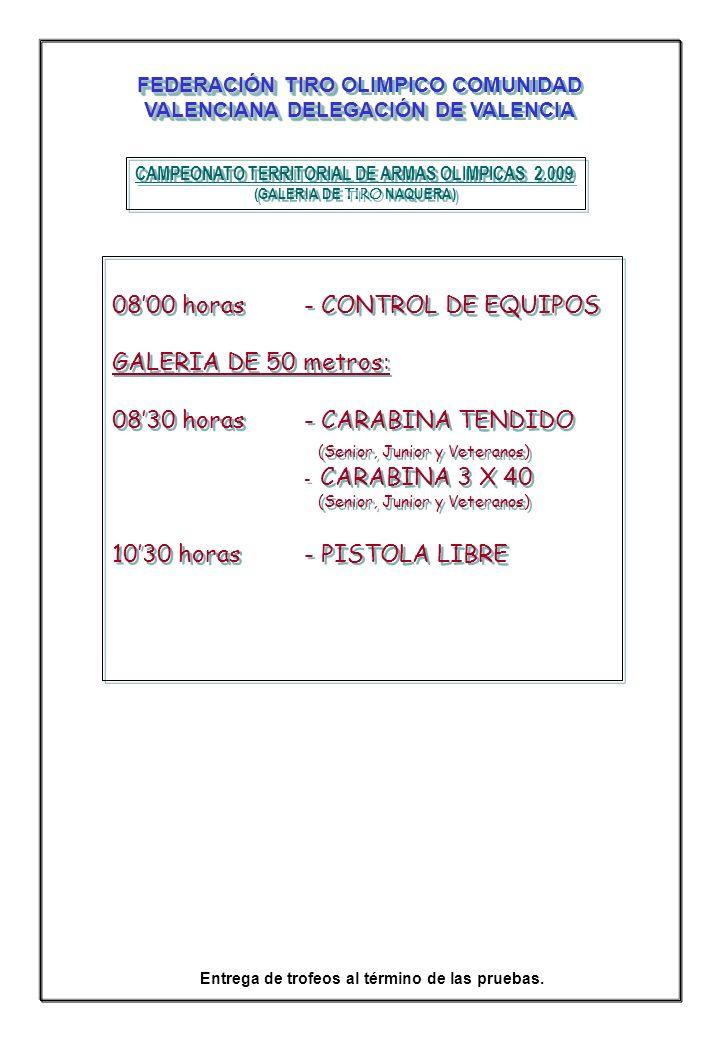 CAMPEONATO TERRITORIAL DE ARMAS OLIMPICAS 2.009 (GALERIA DE TIRO NAQUERA) CAMPEONATO TERRITORIAL DE ARMAS OLIMPICAS 2.009 (GALERIA DE TIRO NAQUERA) GALERIA DE 25 METROS 0830 horas- PISTOLA VELOCIDAD (Senior, Junior y Veteranos) (Senior, Junior y Veteranos) 1130 horas- PISTOLA DEPORTIVA (Damas, Junior Fem.