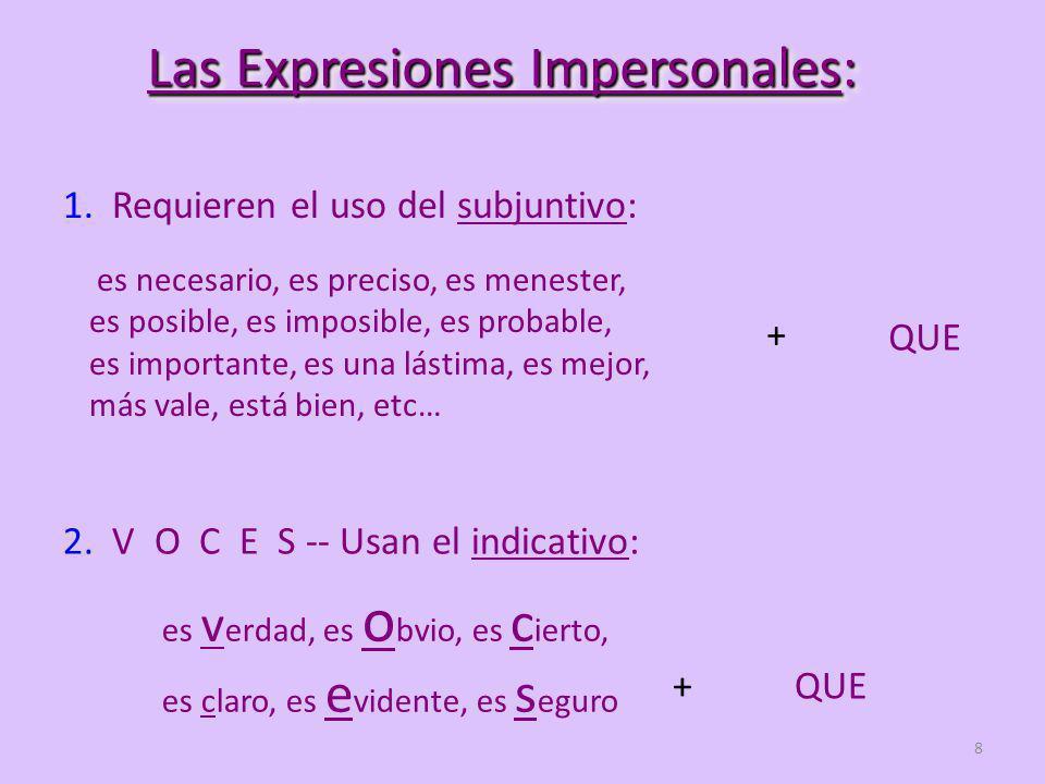8 Las Expresiones Impersonales: 1.