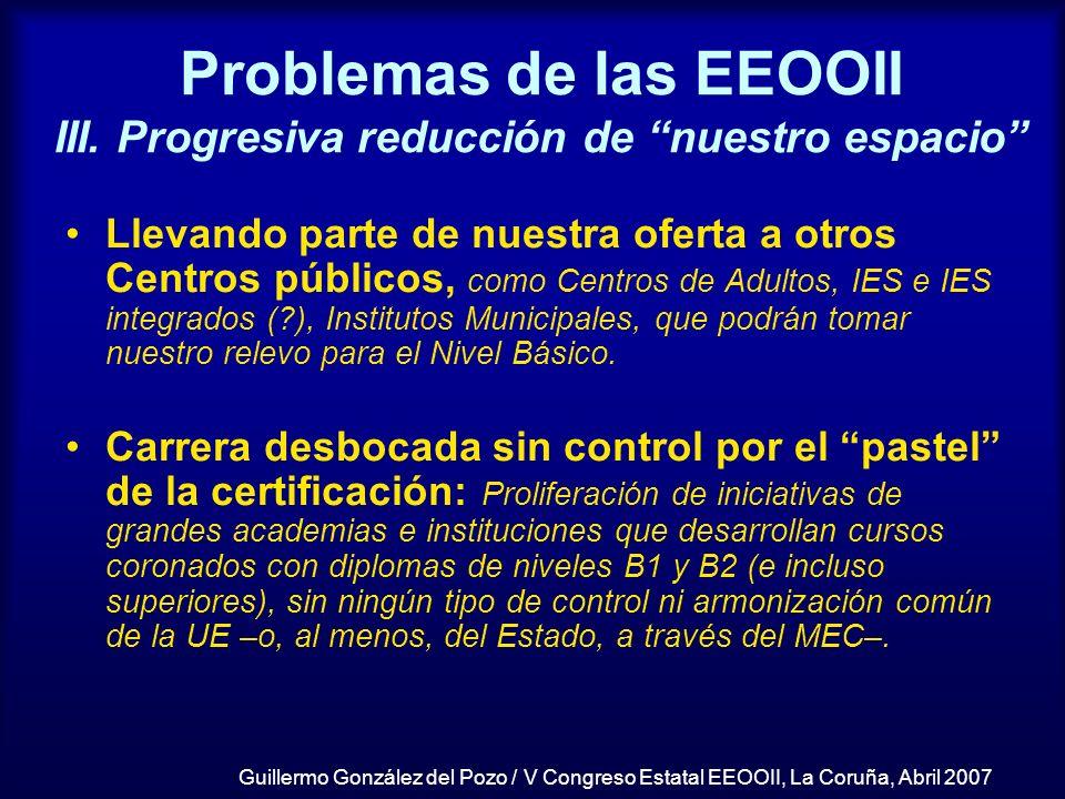 Guillermo González del Pozo / V Congreso Estatal EEOOII, La Coruña, Abril 2007 Problemas de las EEOOII III. Progresiva reducción de nuestro espacio Ll