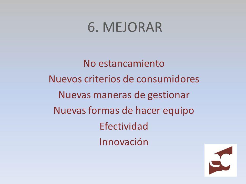 6. MEJORAR No estancamiento Nuevos criterios de consumidores Nuevas maneras de gestionar Nuevas formas de hacer equipo Efectividad Innovación