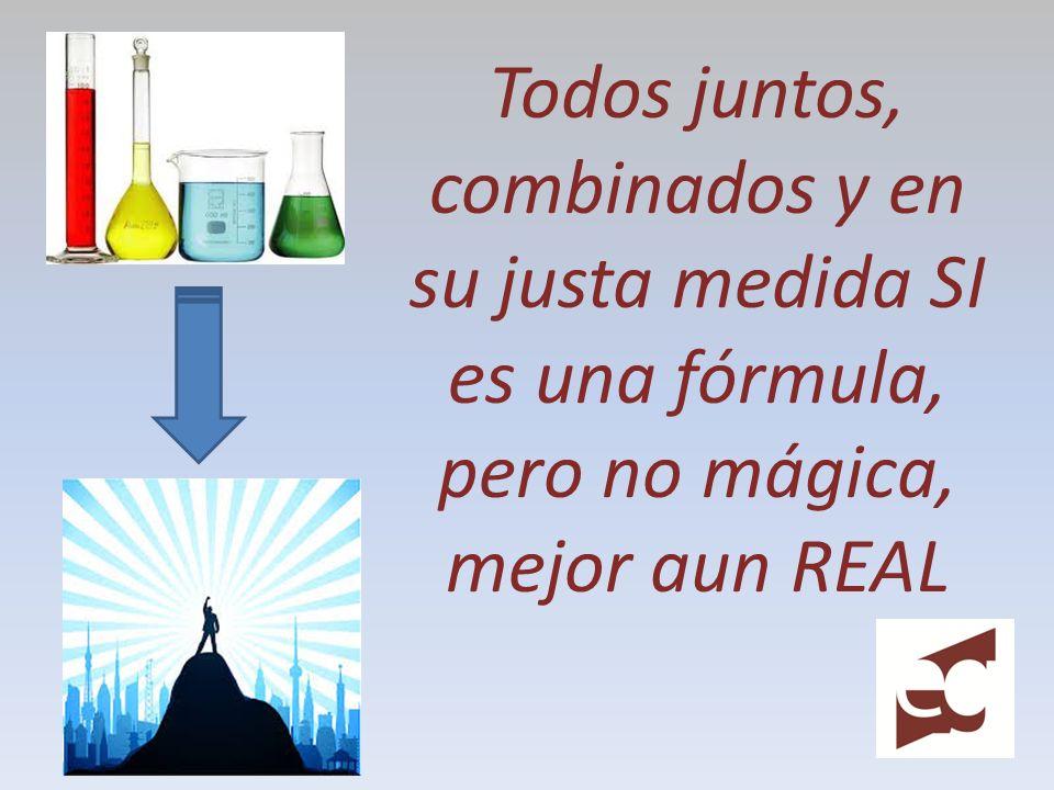 Todos juntos, combinados y en su justa medida SI es una fórmula, pero no mágica, mejor aun REAL