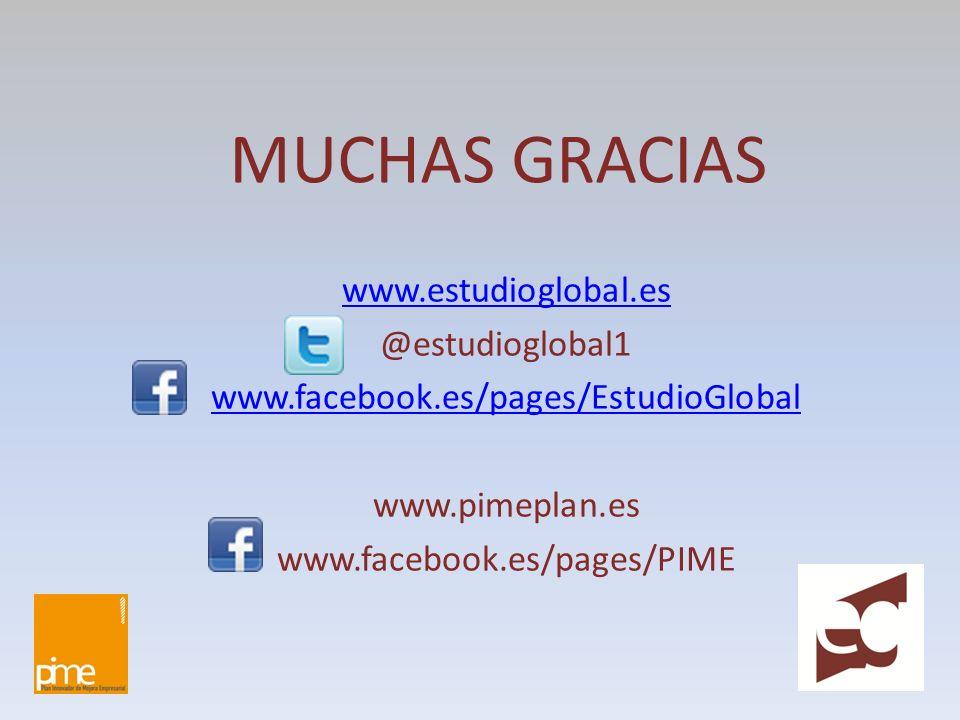 MUCHAS GRACIAS www.estudioglobal.es @estudioglobal1 www.facebook.es/pages/EstudioGlobal www.pimeplan.es www.facebook.es/pages/PIME