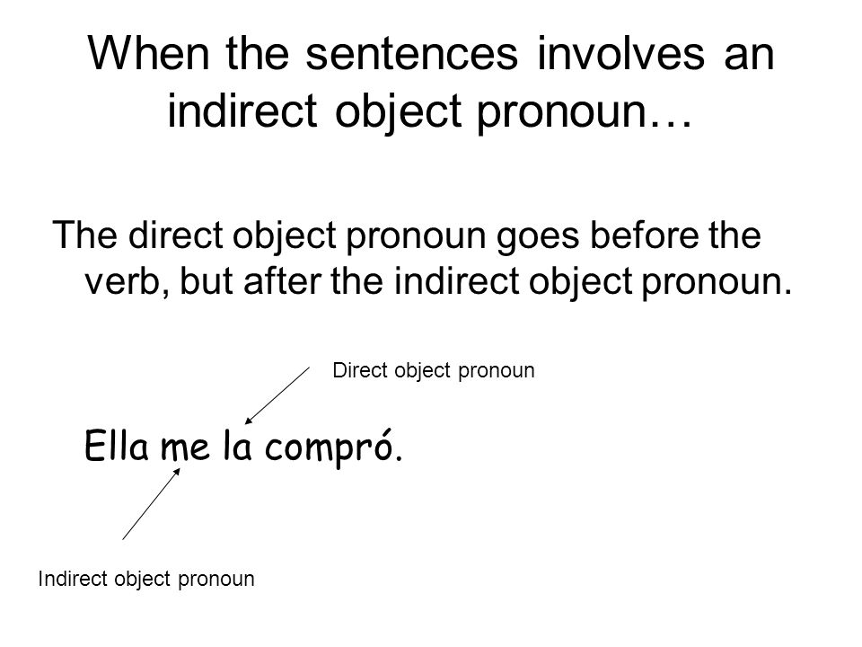 When the sentences involves an indirect object pronoun… The direct object pronoun goes before the verb, but after the indirect object pronoun. Ella me