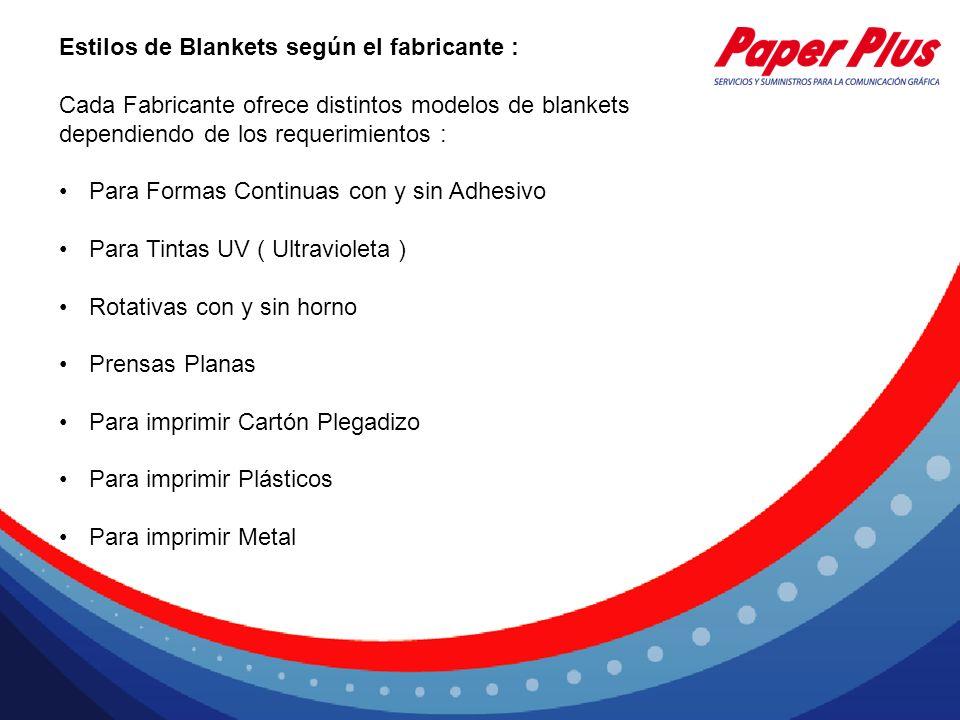 Estilos de Blankets según el fabricante : Cada Fabricante ofrece distintos modelos de blankets dependiendo de los requerimientos : Para Formas Continu