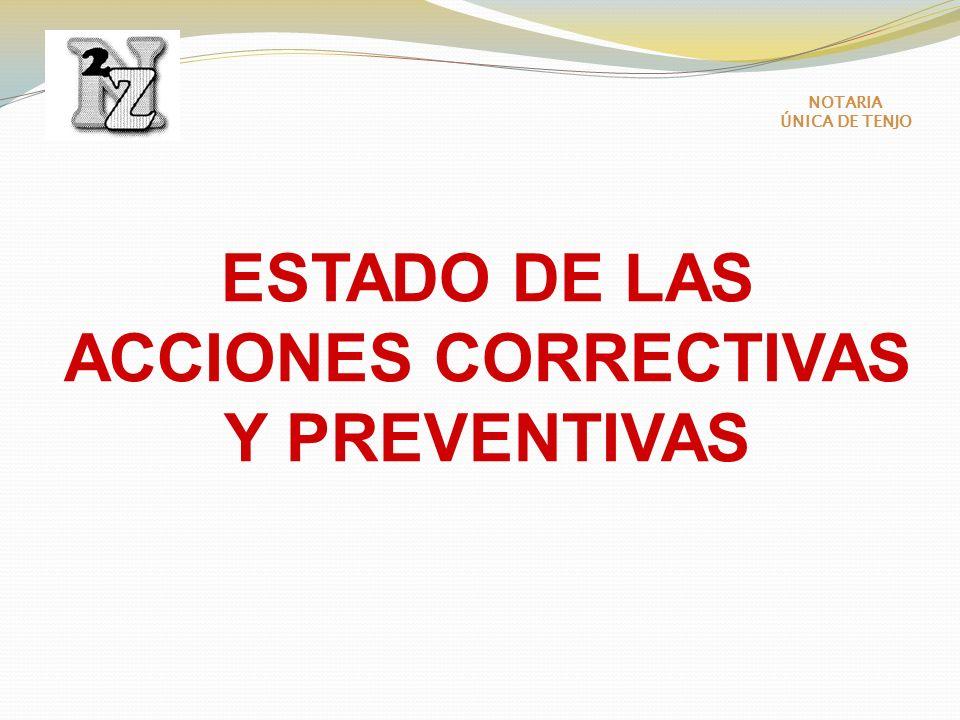ESTADO DE LAS ACCIONES CORRECTIVAS Y PREVENTIVAS NOTARIA ÚNICA DE TENJO