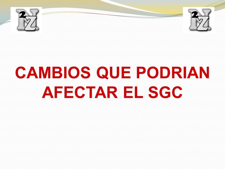 CAMBIOS QUE PODRIAN AFECTAR EL SGC