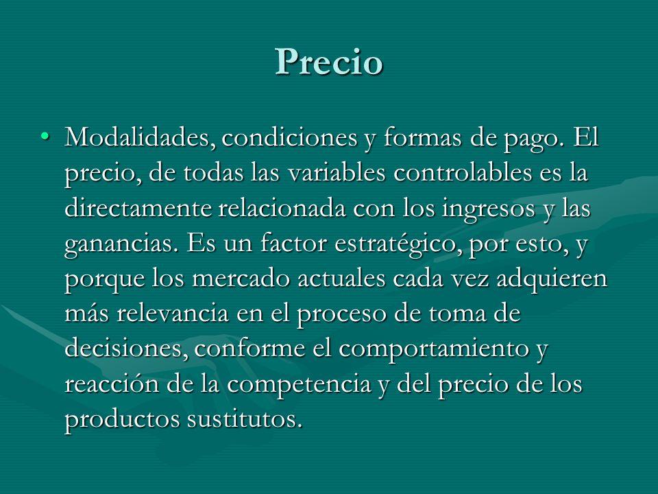 Precio Modalidades, condiciones y formas de pago. El precio, de todas las variables controlables es la directamente relacionada con los ingresos y las