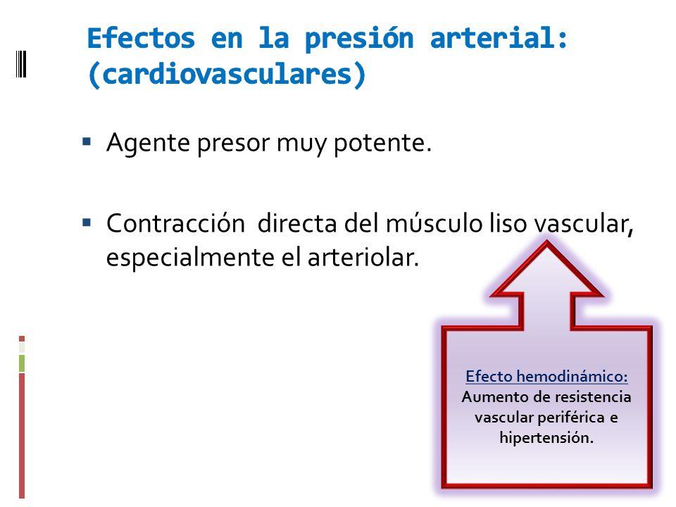 Agente presor muy potente. Contracción directa del músculo liso vascular, especialmente el arteriolar. Efecto hemodinámico: Aumento de resistencia vas