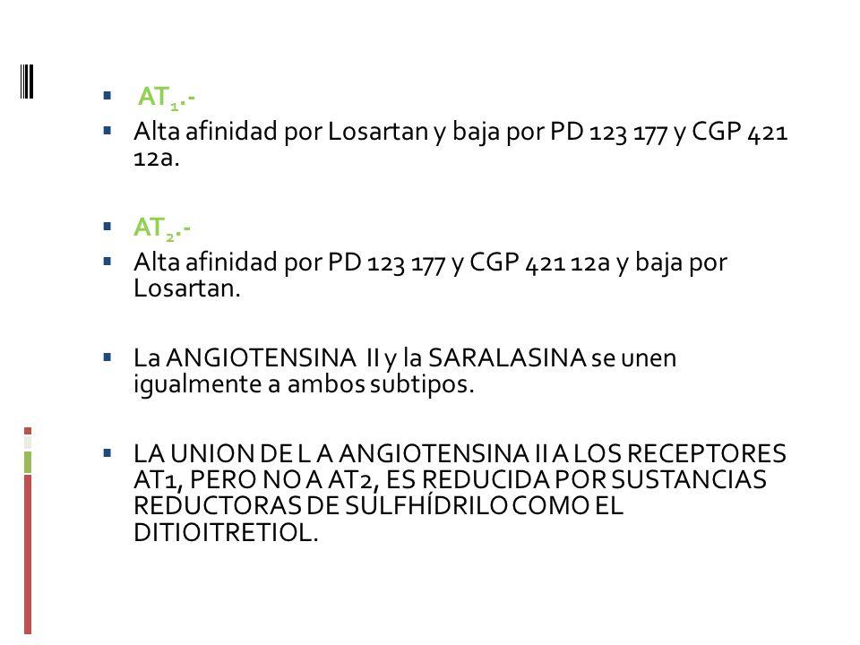 AT 1.- Alta afinidad por Losartan y baja por PD 123 177 y CGP 421 12a. AT 2.- Alta afinidad por PD 123 177 y CGP 421 12a y baja por Losartan. La ANGIO