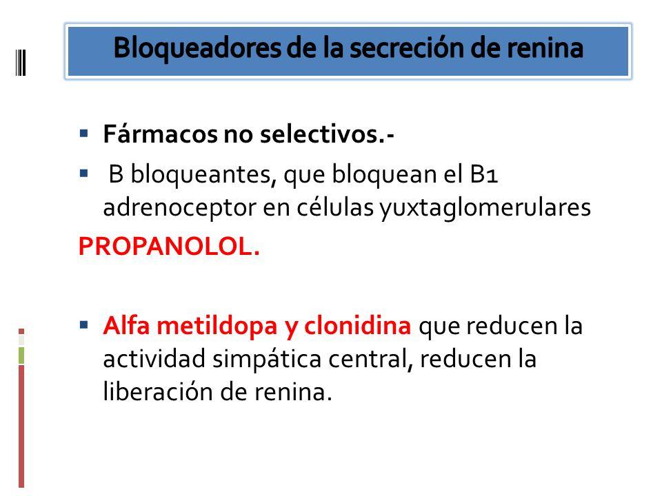 Fármacos no selectivos.- B bloqueantes, que bloquean el B1 adrenoceptor en células yuxtaglomerulares PROPANOLOL. Alfa metildopa y clonidina que reduce