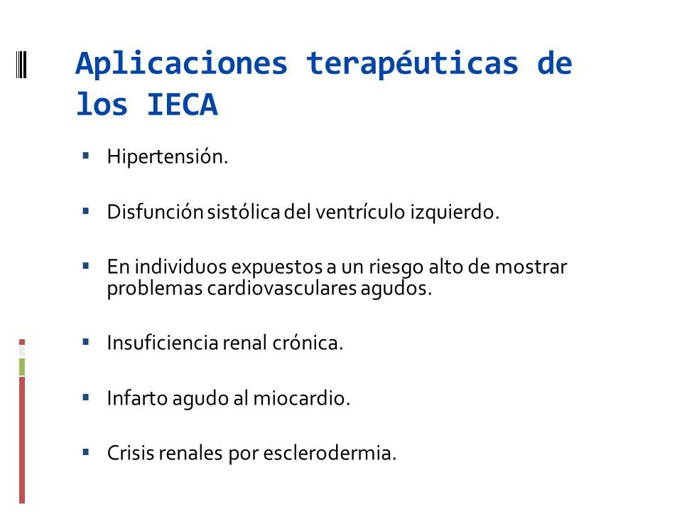 Aplicaciones terapéuticas de los IECA Hipertensión. Disfunción sistólica del ventrículo izquierdo. En individuos expuestos a un riesgo alto de mostrar
