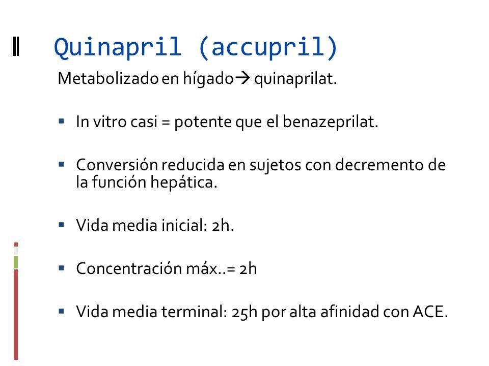 Quinapril (accupril) Metabolizado en hígado quinaprilat. In vitro casi = potente que el benazeprilat. Conversión reducida en sujetos con decremento de