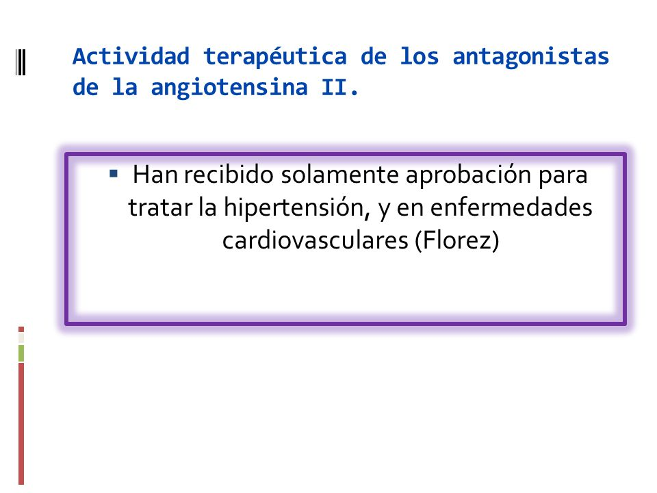 Actividad terapéutica de los antagonistas de la angiotensina II. Han recibido solamente aprobación para tratar la hipertensión, y en enfermedades card