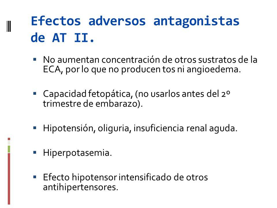 Efectos adversos antagonistas de AT II. No aumentan concentración de otros sustratos de la ECA, por lo que no producen tos ni angioedema. Capacidad fe