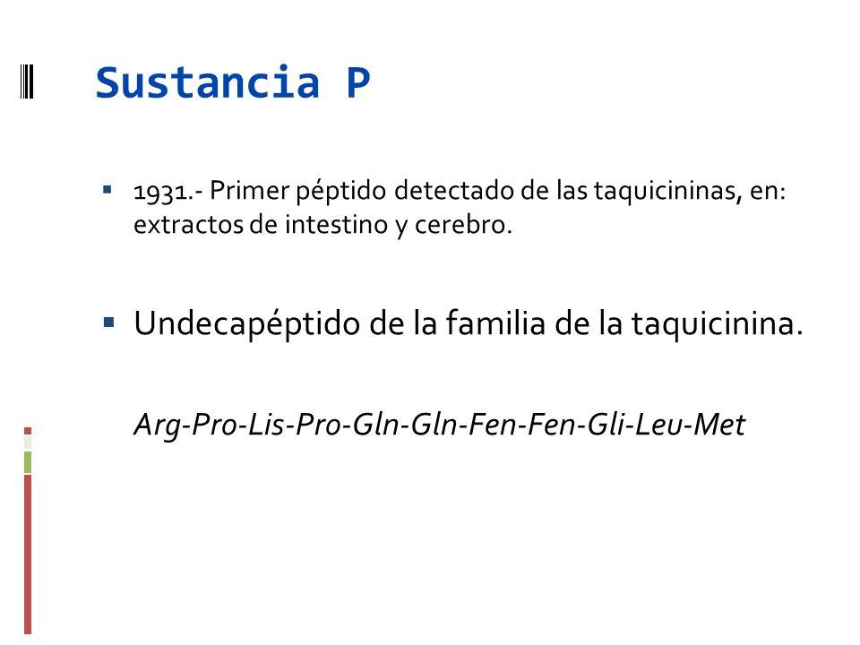 Sustancia P 1931.- Primer péptido detectado de las taquicininas, en: extractos de intestino y cerebro. Undecapéptido de la familia de la taquicinina.