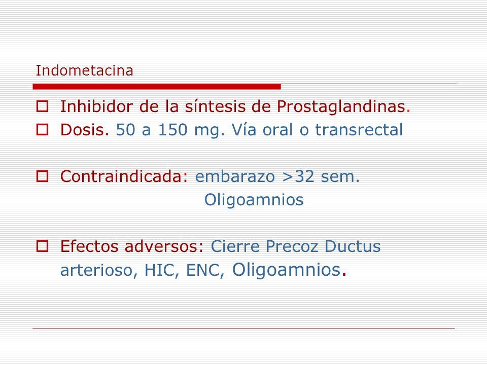 Indometacina Inhibidor de la síntesis de Prostaglandinas. Dosis. 50 a 150 mg. Vía oral o transrectal Contraindicada: embarazo >32 sem. Oligoamnios Efe