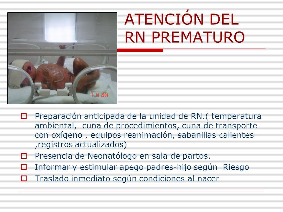 ATENCIÓN DEL RN PREMATURO Preparación anticipada de la unidad de RN.( temperatura ambiental, cuna de procedimientos, cuna de transporte con oxígeno, e