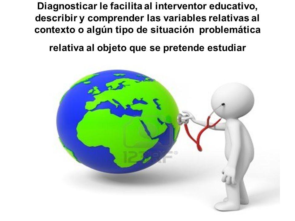 Diagnosticar le facilita al interventor educativo, describir y comprender las variables relativas al contexto o algún tipo de situación problemática r