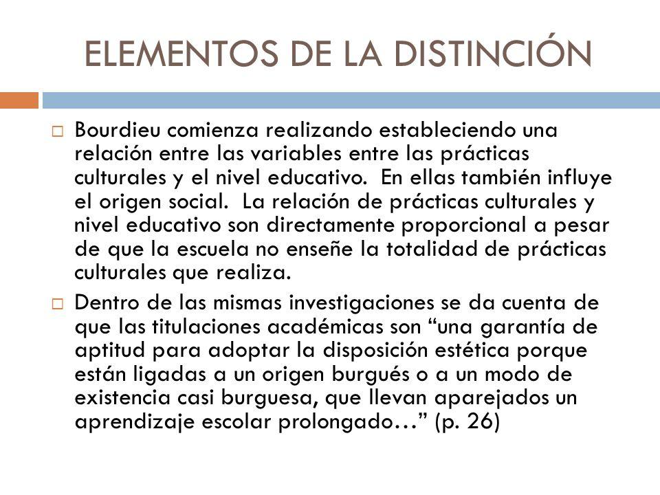 ELEMENTOS DE LA DISTINCIÓN Bourdieu comienza realizando estableciendo una relación entre las variables entre las prácticas culturales y el nivel educa