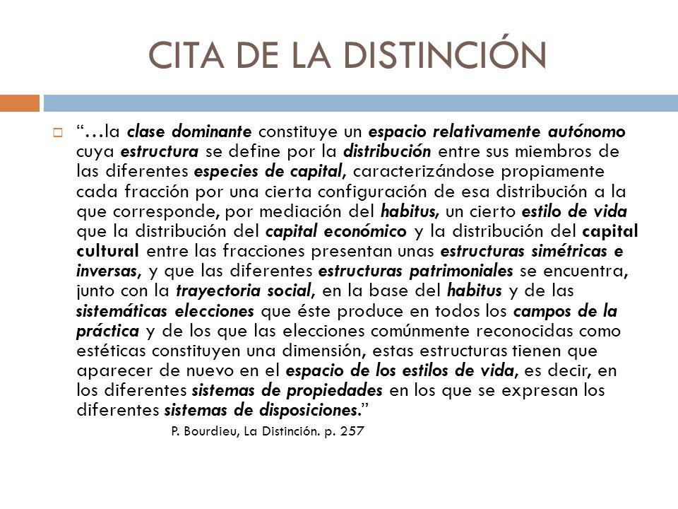 CITA DE LA DISTINCIÓN …la clase dominante constituye un espacio relativamente autónomo cuya estructura se define por la distribución entre sus miembro