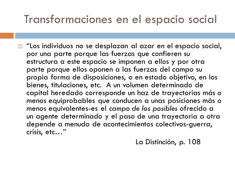 Transformaciones en el espacio social Los individuos no se desplazan al azar en el espacio social, por una parte porque las fuerzas que confieren su e